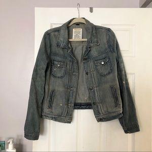 J Crew distressed jean jacket!